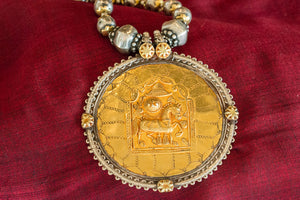 20a401-silver-gold-plated-amrapali-necklace-two-tone-beaded-horse-pendant