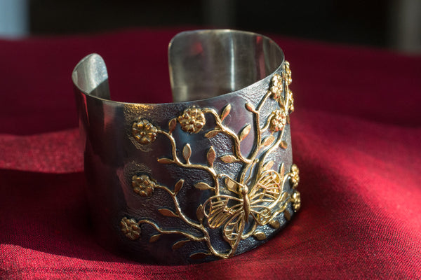 20a403-silver-gold-plated-amrapali-cuff-bracelet-two-tone-butterfly-flowers