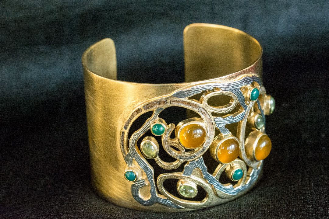 20A404 Silver Gold Plated Amrapali Cuff Bracelet Two Tone with Multi Stone Accents