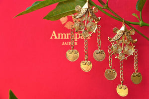 Buy Silver Gold Plated Amrapali Drop Earrings Online in USA from Pure Elegance. Shop silver Indian earrings from our store for women in USA for every occasion.-closeup