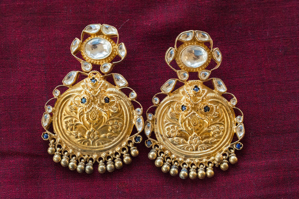 20a423-silver-gold-plated-amrapali-earrings-embossed-floral-stones-alternate-view