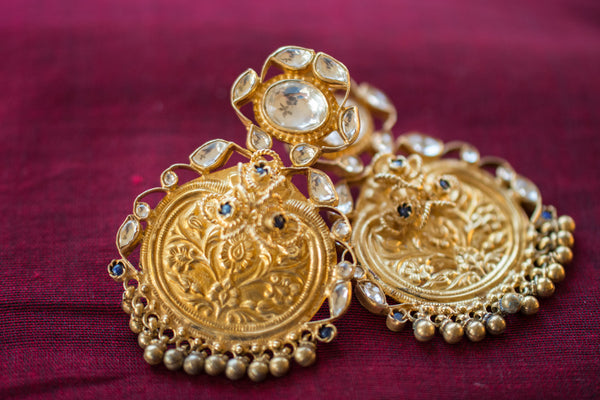 20a423-silver-gold-plated-amrapali-earrings-embossed-floral-stones-alternate-view-2