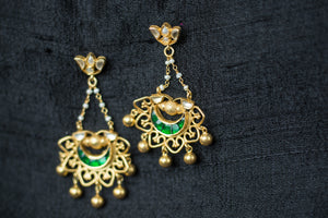 20a429-silver-plated-gold-amrapali-earrings-green-glass-pearl-floral-top-alternate-view