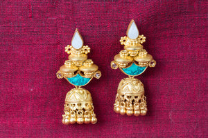 20a438-silver-gold-plated-amrapali-earrings-turquoise-pearl-bead-jhumka