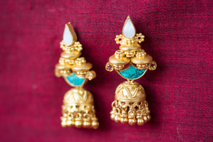 20a438-silver-gold-plated-amrapali-earrings-turquoise-pearl-bead-jhumka-alternate-view