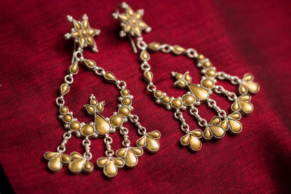 20a439-silver-gold-plated-amrapali-earrings-two-tone-floral-design-alternate-view