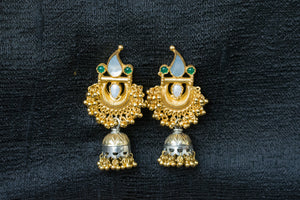 20a444-silver-gold-plated-amrapali-earrings-pearl-stone-two-tone-jhumka