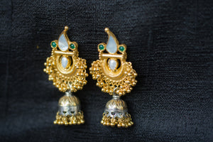 20a444-silver-gold-plated-amrapali-earrings-pearl-stone-two-tone-jhumka-alternate-view