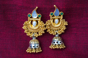 20a444-silver-gold-plated-amrapali-earrings-pearl-stone-two-tone-jhumka-alternate-view-2
