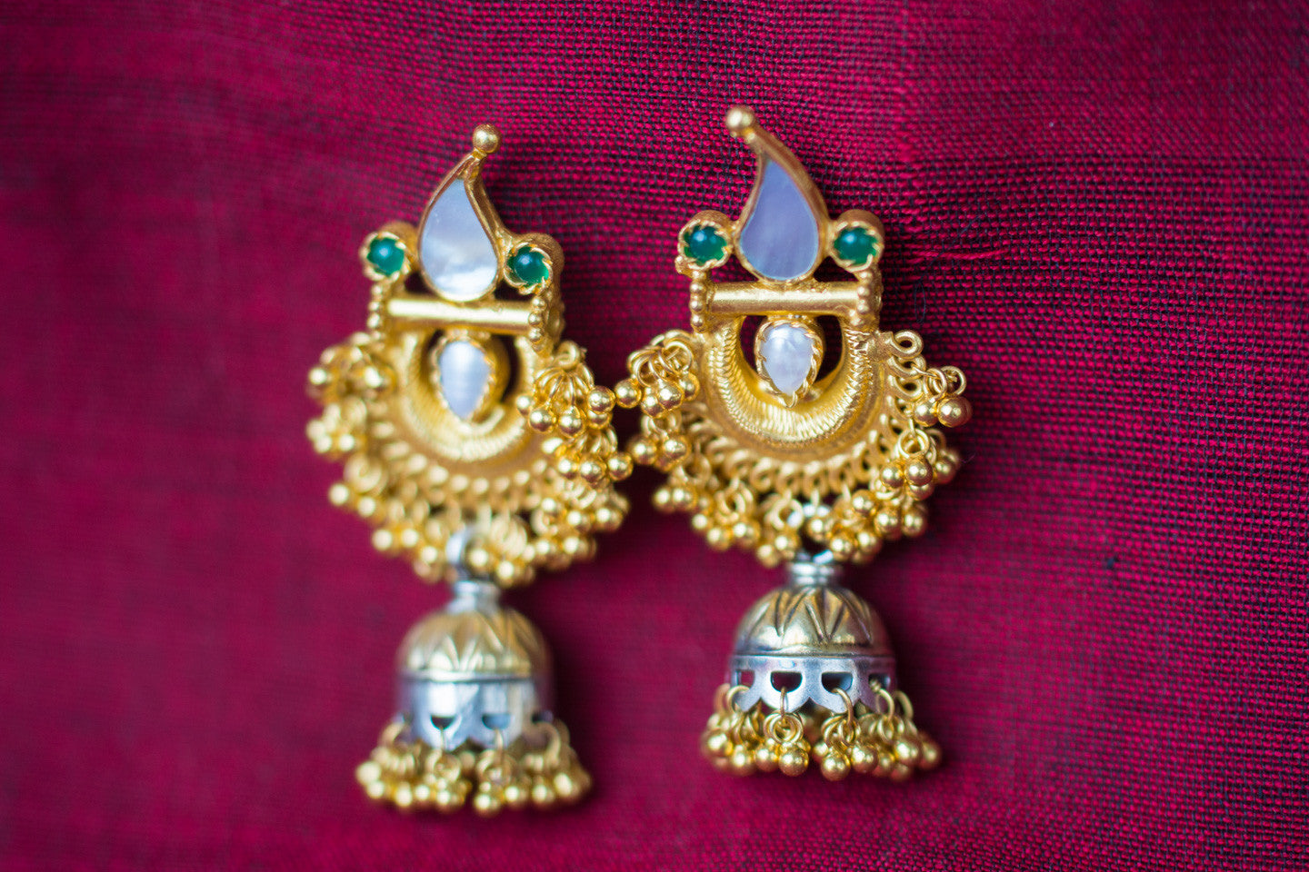 20a444-silver-gold-plated-amrapali-earrings-pearl-stone-two-tone-jhumka-alternate-view-3