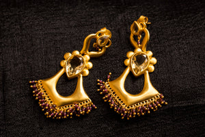 20a448-silver-gold-plated-amrapali-earrings-post-citrine-garnet-bead