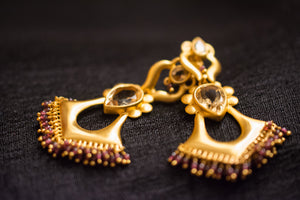 20a448-silver-gold-plated-amrapali-earrings-post-citrine-garnet-bead-alternate-view-2