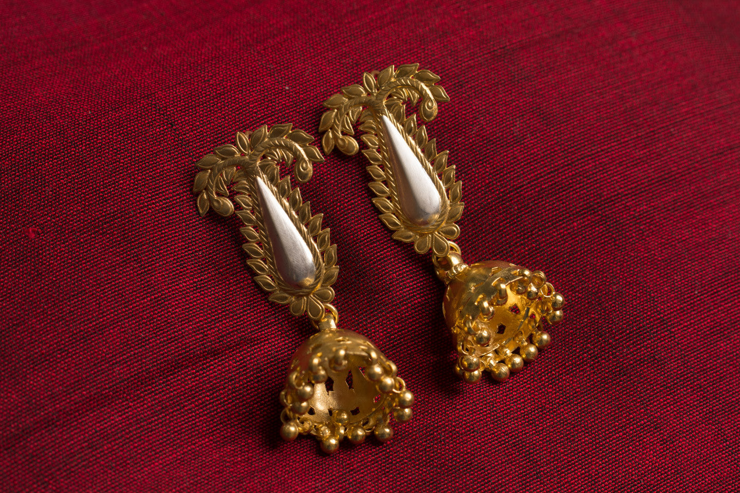20a451-silver-gold-plated-amrapali-earrings-post-leaf-motif-chandelier-alternate-view-1