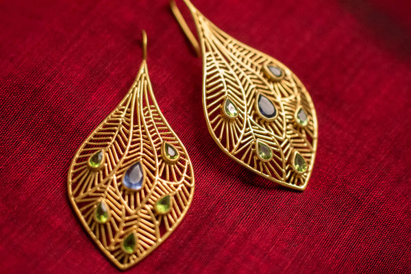 20a453-silver-gold-plated-amrapali-earrings-cut-work-feather-peridot-iolite-alternate-view