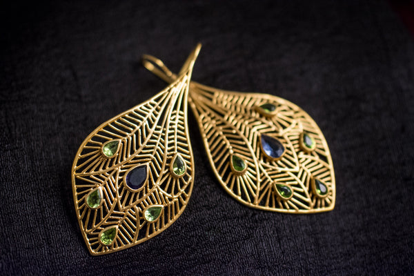 20a453-silver-gold-plated-amrapali-earrings-cut-work-feather-peridot-iolite-alternate-view-2