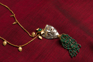 20a454-silver-gold-plated-amrapali-necklace-leaf-mask-green-onyx-alternate-view