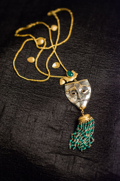 20a454-silver-gold-plated-amrapali-necklace-leaf-mask-green-onyx-alternate-view-3