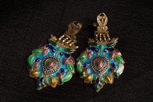 20a473-silver-gold-plated-amrapali-earrings-multi-color-enamel-bird-leaf-raised-design