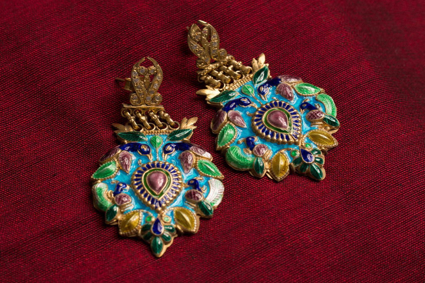 20a473-silver-gold-plated-amrapali-earrings-multi-color-enamel-bird-leaf-raised-design-alternate-view