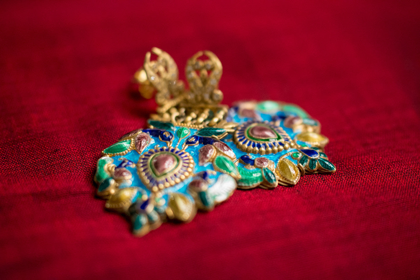 20a473-silver-gold-plated-amrapali-earrings-multi-color-enamel-bird-leaf-raised-design-alternate-view-2