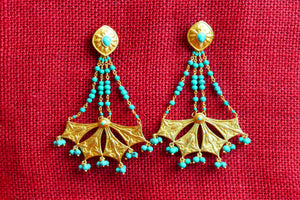 20A476 Silver Gold Plated Turquoise Earrings