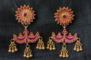 20a496-silver-gold-plated-amrapali-earrings-raised-design-starburst-chandelier-pink-purple-glass