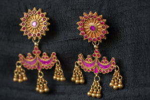 20a496-silver-gold-plated-amrapali-earrings-raised-design-starburst-chandelier-pink-purple-glass-alternate-view