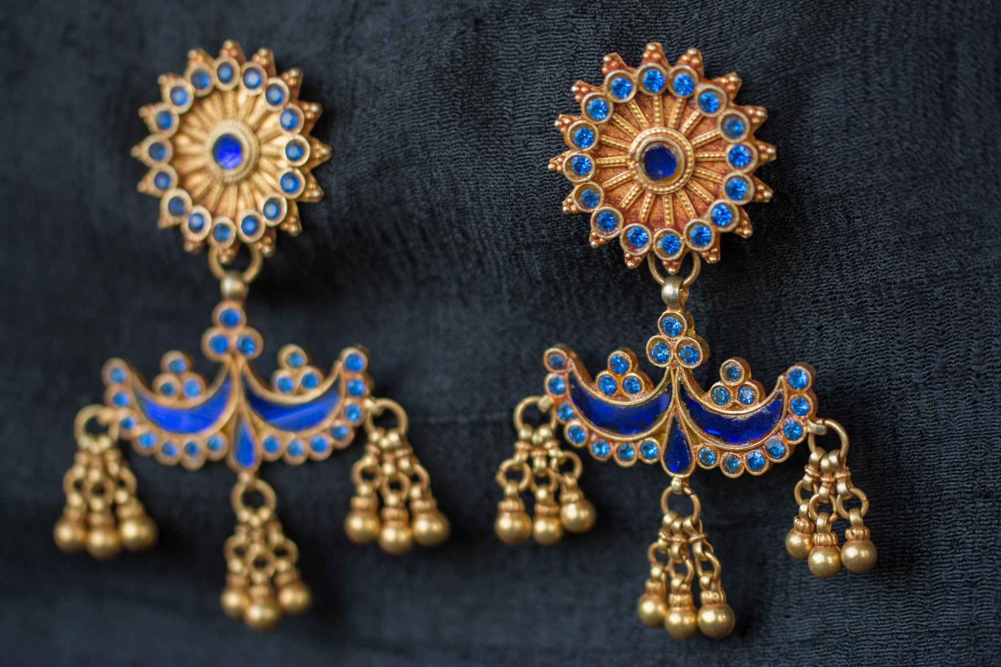 20A498 Silver Gold Plated Amrapali Earrings with Blue Glass and Bead