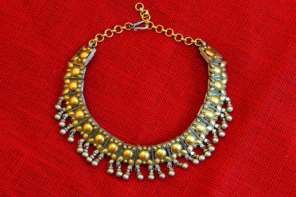 20A507 Silver Gold Plated Dual Shaded Necklace