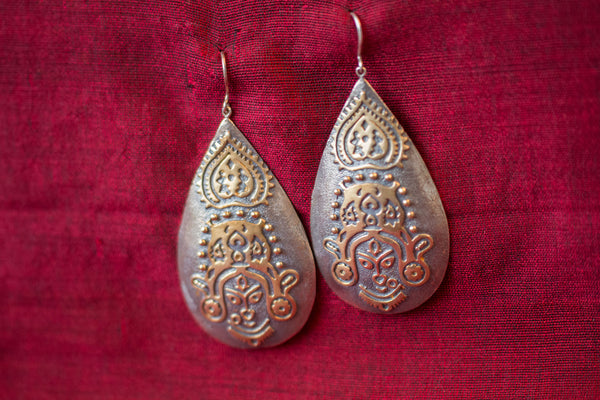 20a520-silver-gold-plated-amrapali-earrings-two-tone-raised-design-woman-alternate-view