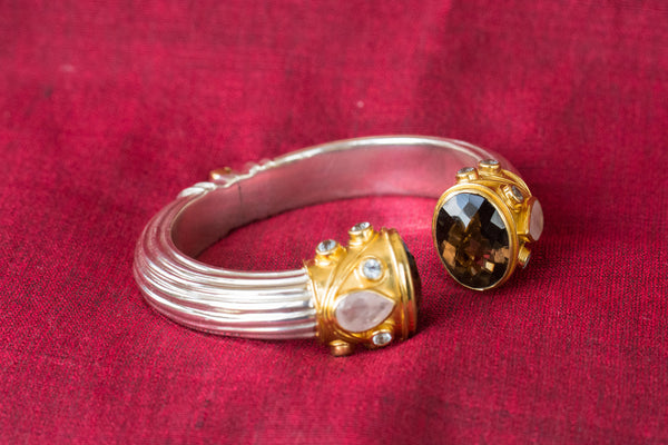 20A531 Silver Gold Plated Amrapali Cuff Bracelet Two Tone and Multi Stone Accents