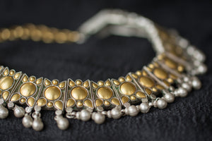 Indian Silver gold plated Amrapali Beaded fashion necklace. Traditional look neckpiece good in all events.-close up design
