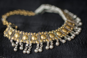 Indian Silver gold plated Amrapali Beaded fashion necklace. Traditional look neckpiece good in all events.-hanging silver beads