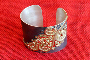 20A546 Silver Gold Plated Cuff Bracelet