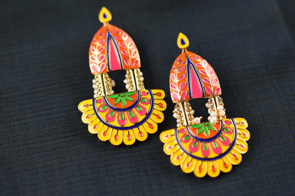 20A584 Silver Gold Plated Multi Colored Enamel Earrings