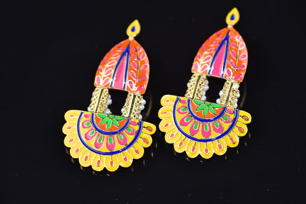 20A584 - b Silver Gold Plated Multi Colored Enamel Earrings
