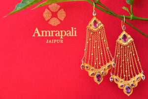 Buy Silver Gold Plated Passa Earrings Online in USA with Amethyst from Pure Elegance. Shop Indian earrings from our store for women in USA for every occasion.-closeup