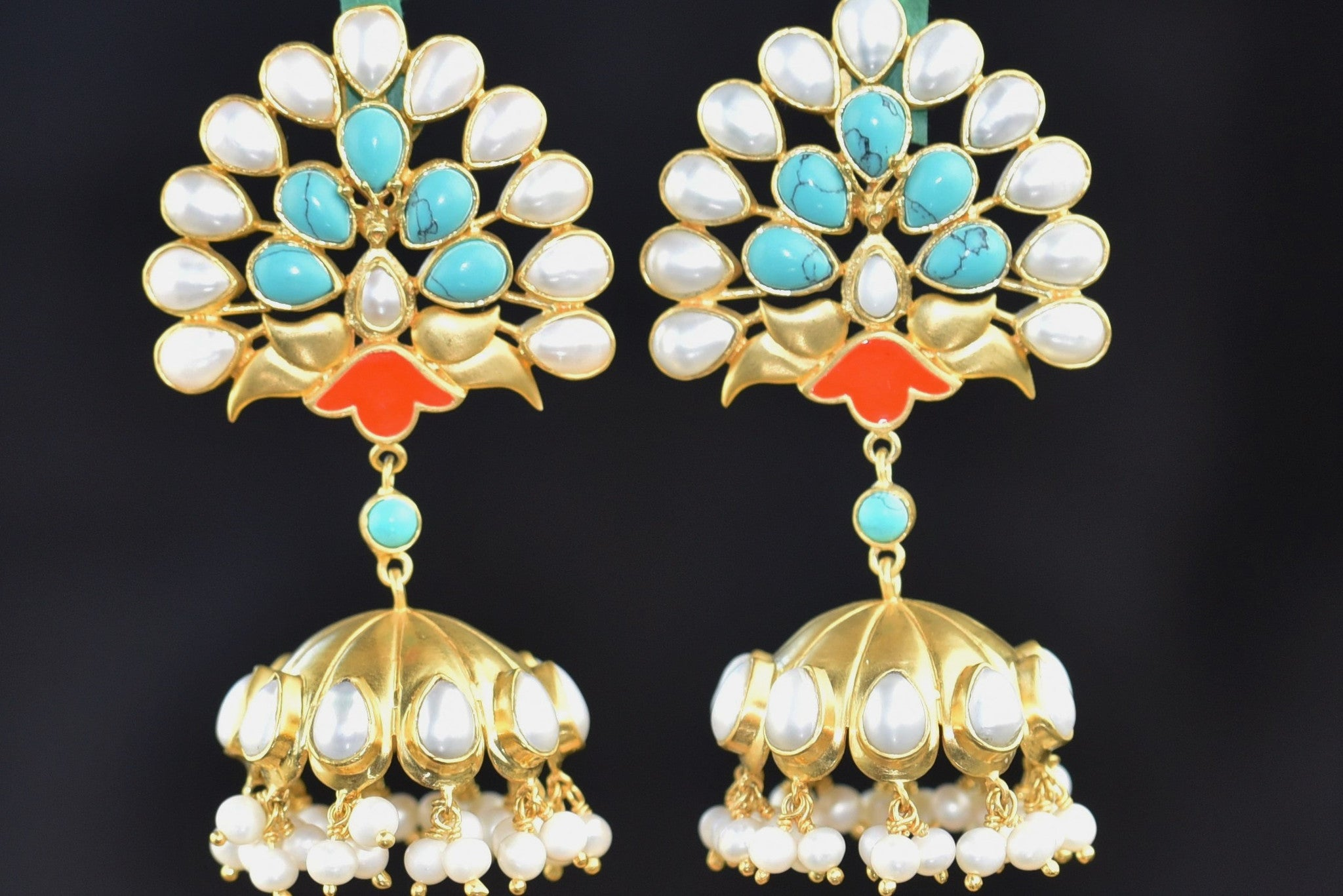 20A612 Silver Gold Plated Peacock Style Earrings With Pearl