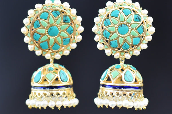 20a623-silver-gold-plated-turquoise-amrapali-earrings-B