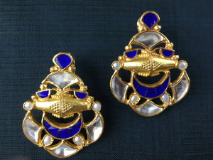 20A624 Silver Gold Plated Blue And Gold Earrings With Pearl
