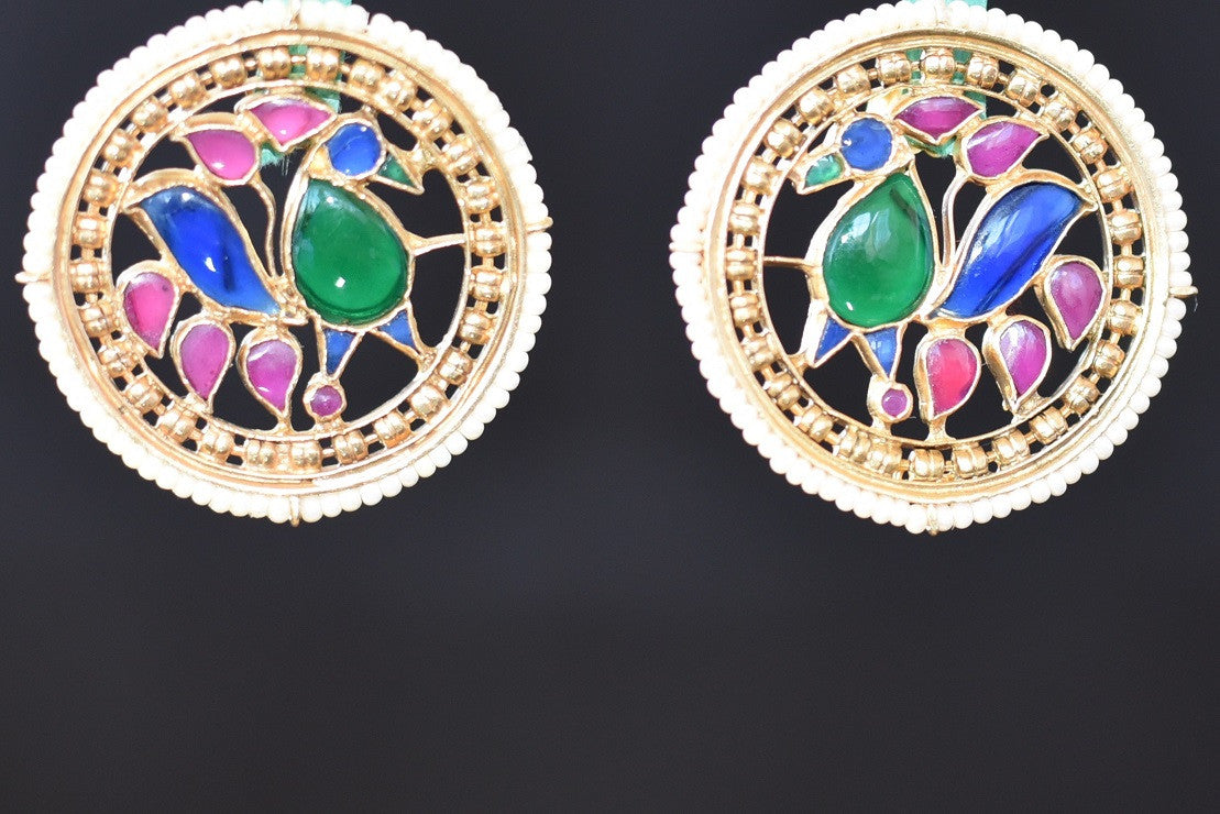 20a637-silver-gold-plated-peacock-work-amrapali-earring-A
