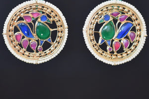 20a637-silver-gold-plated-peacock-work-amrapali-earring-B