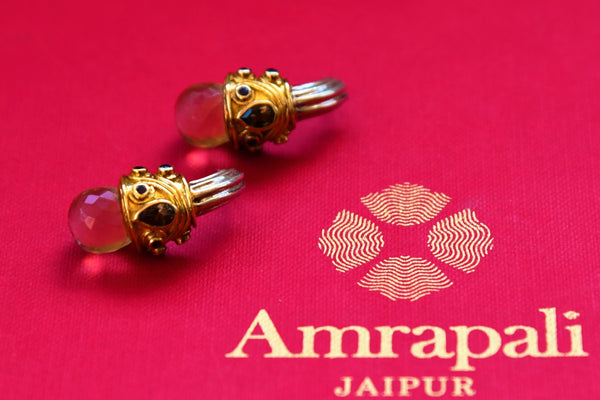 Buy silver gold plated Amrapali earrings online from Pure Elegance. Our Indian fashion store in USA brings alluring range of ethnic silver gold plated jewelry in USA.-closeup