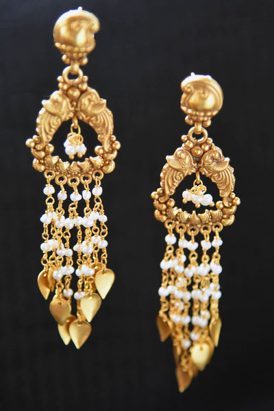 20A806 Long Silver Gold Plated Earrings With Pearls