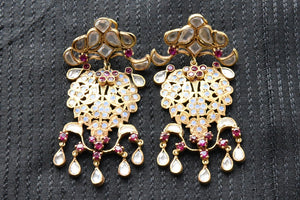 20A818 Silver Gold Plated Glass Earrings With A Hint Of Maroon