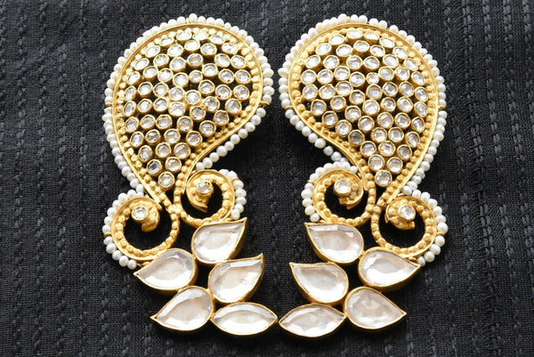 20A823 Paisley Style Glass & Pearl Earrings