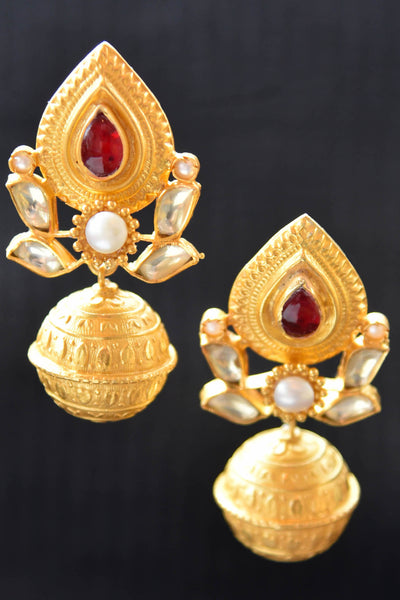 20A825 Traditional Silver Gold Plated Earrings With A Pop Of Red