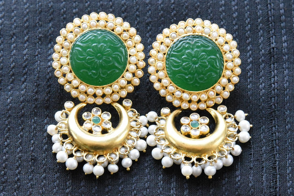 20A832 Green & Silver Gold Plated Earrings With Glass & Pearls