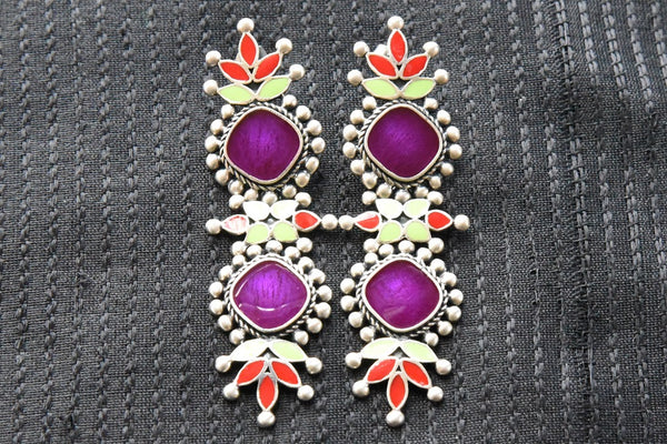 20A834 Vibrant Red & Purple Enamel Earrings