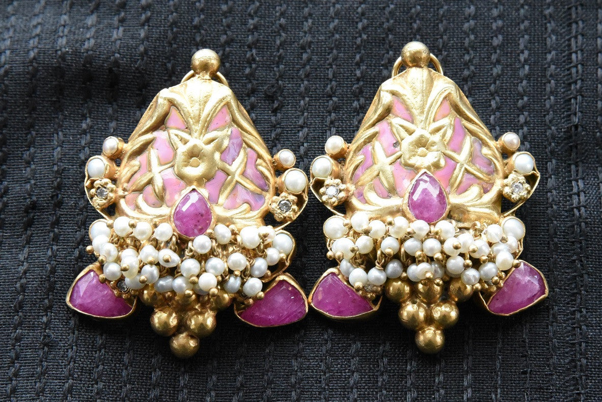 20A844 Beautiful Pink & Purple Earrings With Pearls